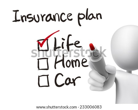 insurance plan checklist checking by 3d man over transparent board - stock photo