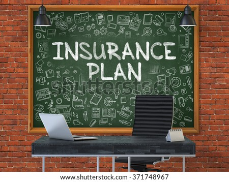 Insurance Plan - Handwritten Inscription by Chalk on Green Chalkboard with Doodle Icons Around. Business Concept in the Interior of a Modern Office on the Red Brick Wall Background. 3D. - stock photo