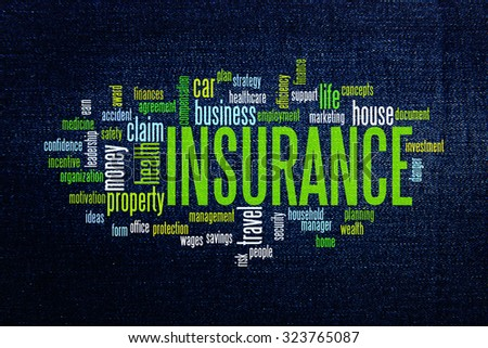 Insurance protection info text arrangement concept word cloud - stock photo