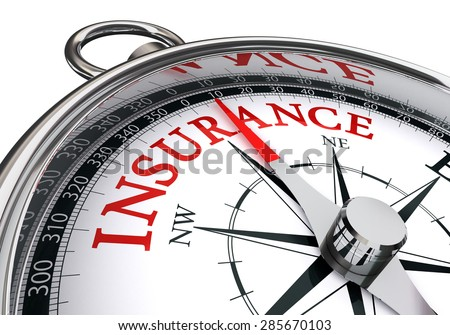 insurance red word on concept compass isolated on white background - stock photo