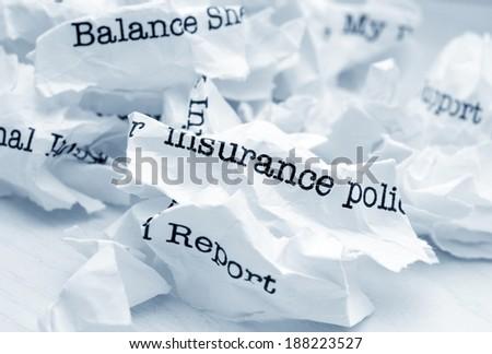 Insurance report trash - stock photo