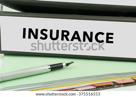 Insurance - Ring Binder in the office. Insurance File. Business Concept - stock photo