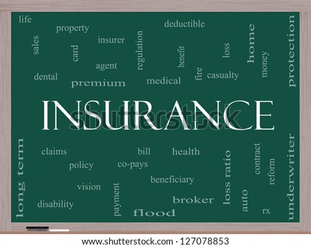 Insurance Word Cloud Concept on a Blackboard with great terms such as and more. - stock photo