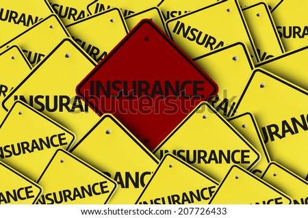 Insurance written on multiple road sign  - stock photo