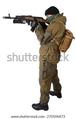 insurgent wearing shemagh with kalashnikov rifle isolated on white background - stock photo