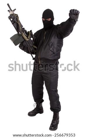 insurgent with machine gun isolated - stock photo