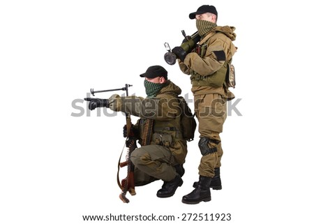 insurgents with AK 47 and RPD machine gun isolated on white background - stock photo