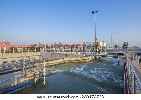 Intake Canal of Raw Water in Water Treatment Plant - stock photo