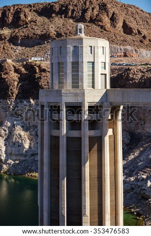 Intake tower at Hoover Dam, Collection tower at Hoover Dam - stock photo