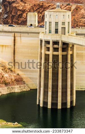 Intake tower at Hoover Dam located at Lake Mead on the Nevada - Arizona border, USA.  - stock photo