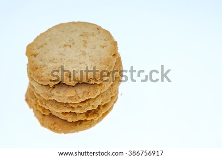 Integral biscuits on white background - stock photo