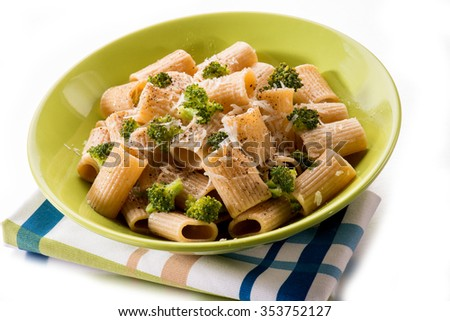 integral pasta with broccoli and parmesan cheese - stock photo