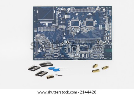 Integrated Circuit and Other Components - Isolated. - stock photo