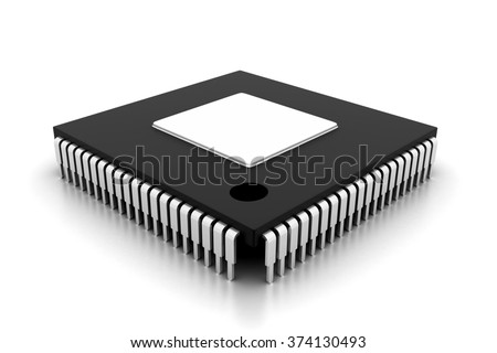 Integrated Circuit on white background 	 - stock photo
