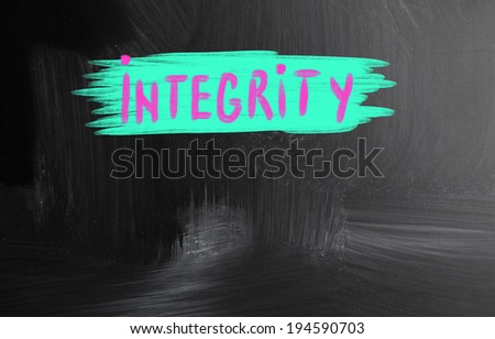 integrity handwritten with chalk on a blackboard - stock photo