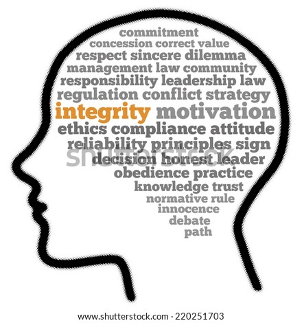 Integrity in words cloud - stock photo