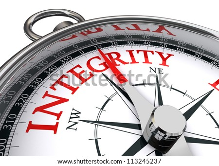 integrity red word indicated by compass conceptual image on white background - stock photo
