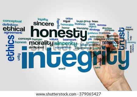 Integrity word cloud concept with honesty trust related tags - stock photo