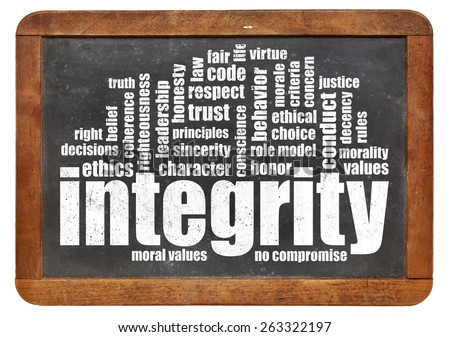 integrity word cloud on a vintage slate blackboard - stock photo