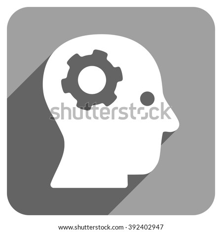 Intellect Mechanism long shadow glyph icon. Style is a flat intellect mechanism iconic symbol on a gray square background. - stock photo