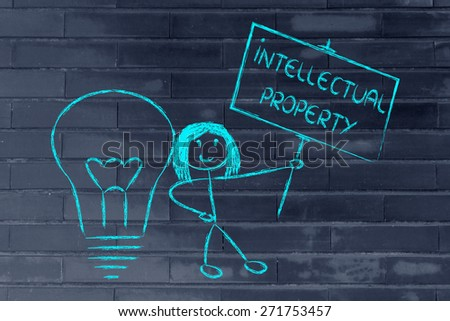 intellectual property and copyright ownership: funny girl with lightbulb and sign - stock photo