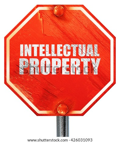 intellectual property, 3D rendering, a red stop sign - stock photo