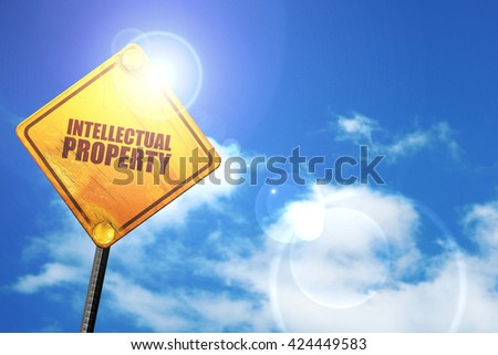 intellectual property, 3D rendering, a yellow road sign - stock photo