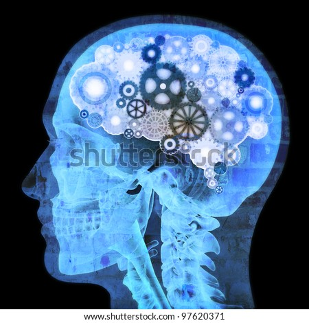 Intellectual thinker , Human xray with gears for brains, grunge concept - stock photo
