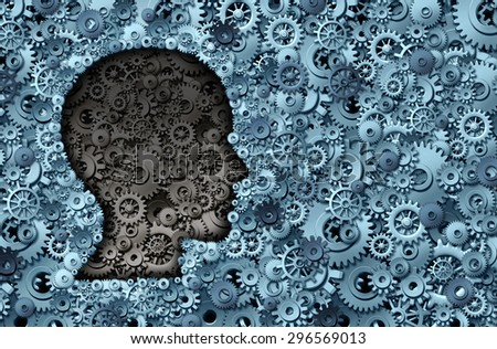 Intelligence machine and human brain as a thinking technology machine or neurology medical symbol with a head shape made of cogs and gears for strategy psychological and mental neurological activity. - stock photo