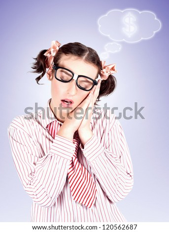 Intelligent And Nerdy Business Accounts Woman Dreaming Up Investment Ideas And A Money Growth Strategy - stock photo