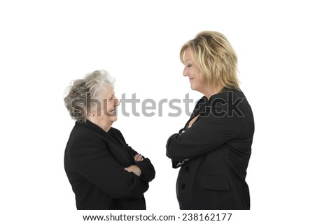 Intelligent business woman looking at each other against a white background - stock photo