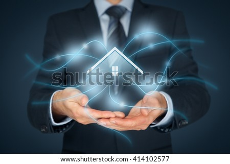Intelligent house, smart home and home automation concept. Icon of the house and wireless communication.