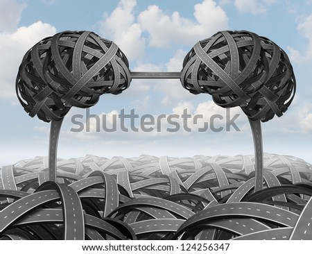 Intelligent partnership management with a group of tangled roads and highways shaped as a human brain with a connected path forming a union and team for business success on a sky background. - stock photo