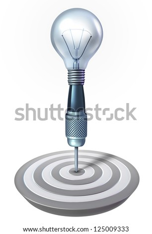 Intelligent planning and strategy for achieving your personal and business goals as a dart with a light bulb shape on target as a financial concept of innovative thinking for success on white. - stock photo