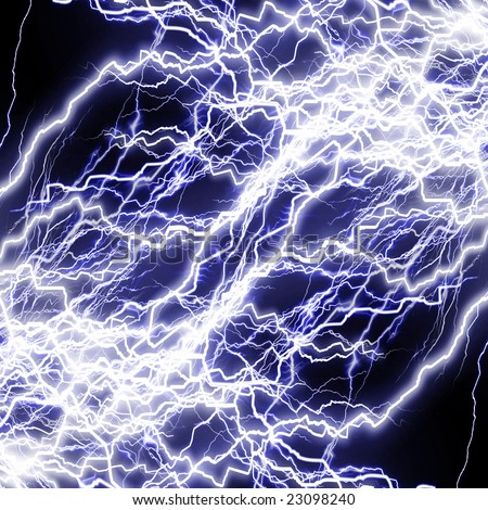 Intense lightning storm or electricity on a dark background - stock photo