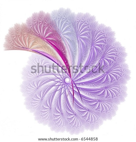 Intense purple spiral with pink, peach and lilac sections on white background - stock photo