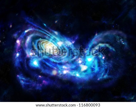 Interacting galaxies (colliding galaxies) are galaxies whose gravitational fields result in a disturbance of one another. - stock photo