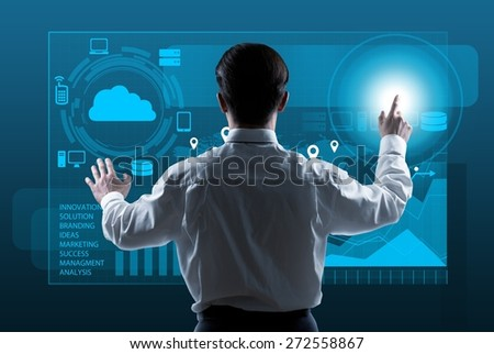Interaction. Businessman presses interface, high resolution - stock photo
