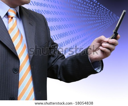 Interaction with technology - stock photo