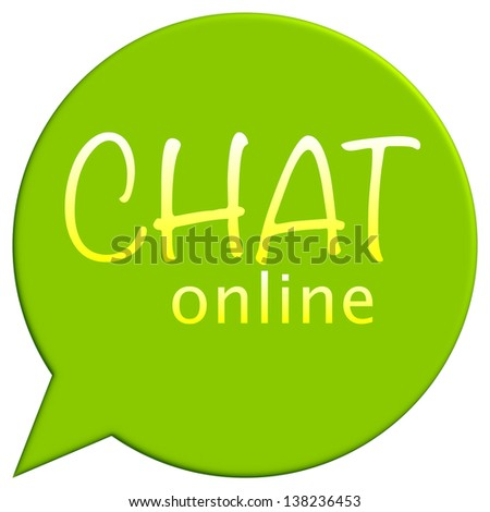 Interactive online chat icon in green - stock photo