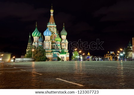 Intercession Cathedral at Red Square in night. Moscow, Russia - stock photo
