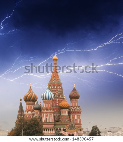 Intercession Cathedral (St. Basil's) of Moscow Kremlin at Red Square in Moscow. Russia - stock photo