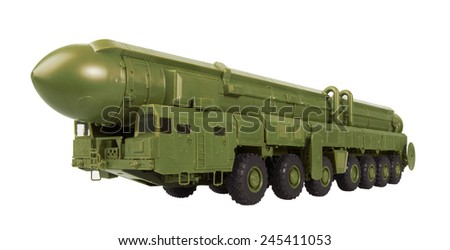 Intercontinental ballistic missile Topol-M, isolated on a white background. Model - stock photo