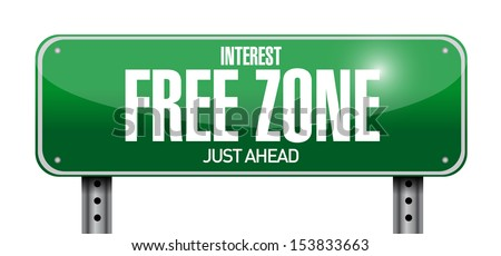 interest free zone road sign illustration design over a white background - stock photo