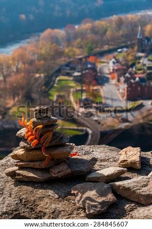 Interesting construction of rocks on Maryland Heights, above Harper's Ferry, West Virginia. - stock photo