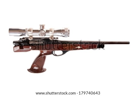 Interesting modern looking bolt action pistol in .223 caliber - stock photo