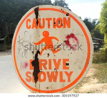 Interesting road sign indicating something. - stock photo