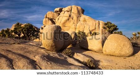Interesting rock formation at sunset in Joshua Tree National Park, California. - stock photo