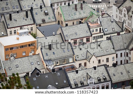 Interesting structure of Alesund city - stock photo
