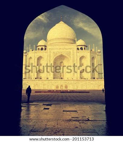 Interesting view of Taj Mahal, India, vintage retro style.  - stock photo